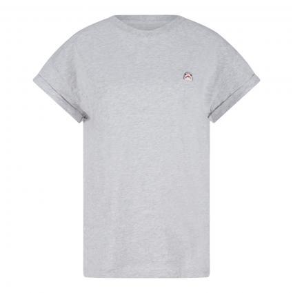 T-Shirt mit kleiner Hai-Stickerei grau (8752 grau mel. hai) | S