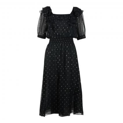 Chiffonkleid 'Robe' mit Rüschen-Details schwarz (BLACK NOIR) | 34