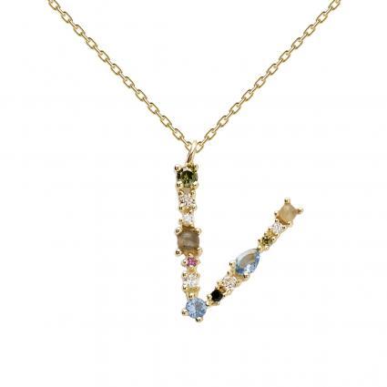 Filigrane Halskette mit Buchstabe 'V' divers (1) | 0
