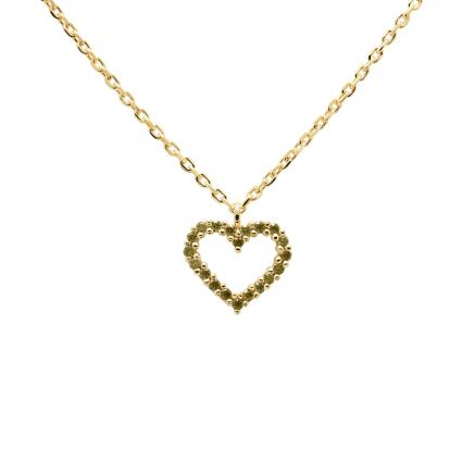 Filigrane Halskette mit grünem Herzanhänger gold (OLIVE HEART GOLDHAL) | 0