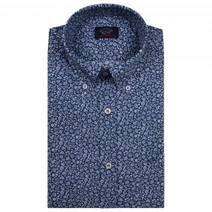Kurzarm Button-Down Hemd mit All-Muster  blau (001 Blue) | 40
