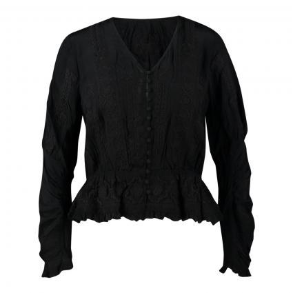Bluse mit Stickereien schwarz (BLACK BLA01)   32