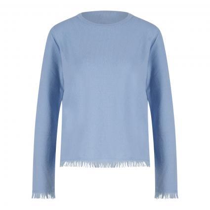 Cashmere-Pullover mit Fransenabschluss blau (4112 bleu) | 40
