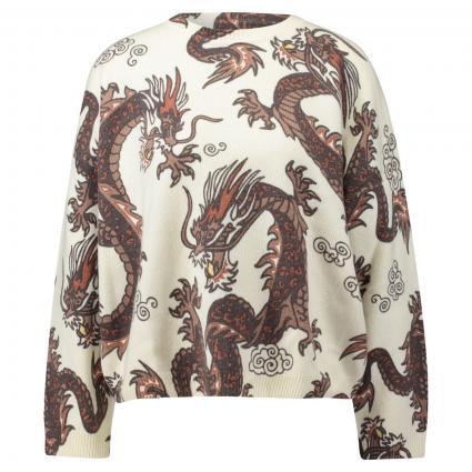 Pullover mit Drachen-Print ecru (120 ecru dragon) | XXL
