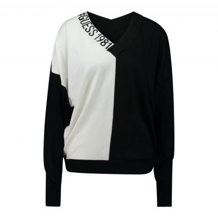 Pullover 'Dalia' in Colour-Blocking schwarz (F98J BLACK AND WHITE) | XS