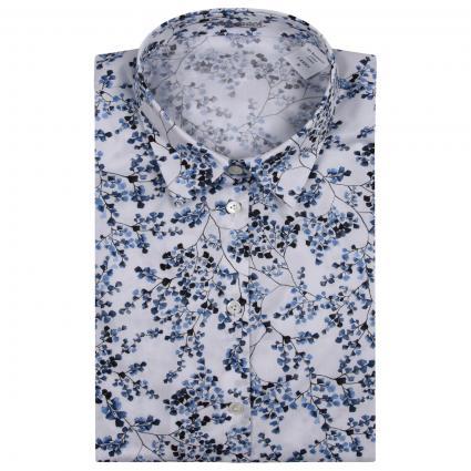 Hemdbluse mit floralem All-Over Muster  blau (007 blau millefleur)   40