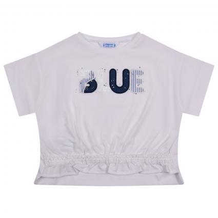 T-Shirt mit Stickerei und Steinchen Besatz  weiss (027 Ink) | 116