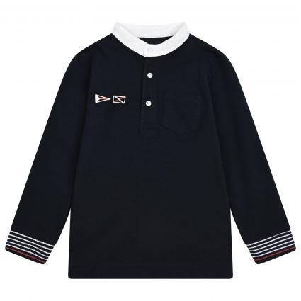 Langärmliges Polohemd mit Stehkragen  marine (088 Navy) | 110