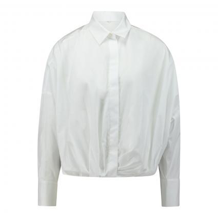 Kurze Bluse mit Falten-Details weiss (010 weiß) | 36