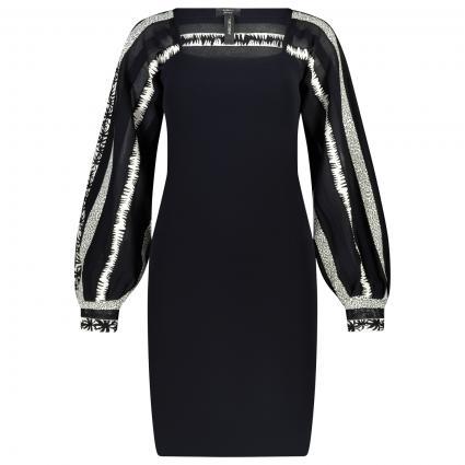 Kleid mit Muster-Mix  marine (395 midnight blue) | 42