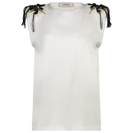 T-Shirt mit Schulter-Verzierung   weiss (pure white) | 36