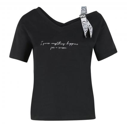 T-Shirt mit Aufschrift und Schulterdetail schwarz (JBLK JET BLACK A996) | M