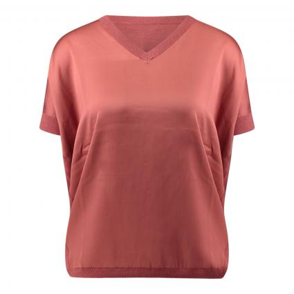 Blusenshirt aus Material-Mix rot (1384 cinnamon) | 40