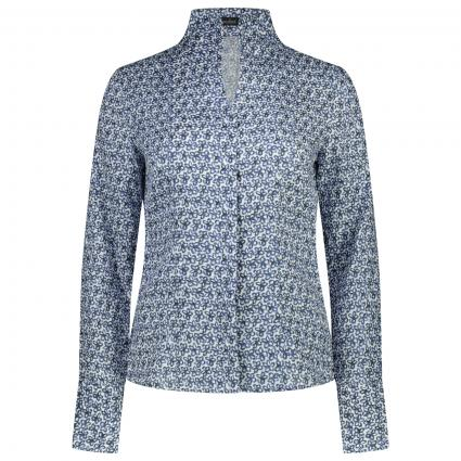 Bluse mit Kegelkragen und All-Over Muster  blau (007 blau blume) | 46