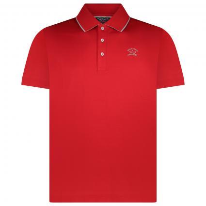 Polohemd mit Label-Stickerei  rot (577 Red) | XL