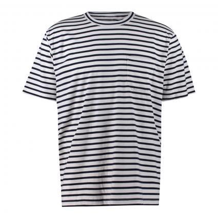 T-Shirt 'Kurt' mit Streifenmuster blau (724 navy stripe) | M