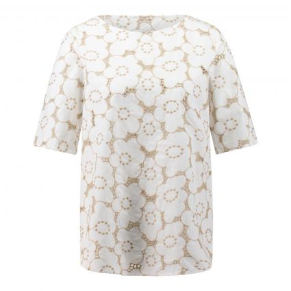 Bluse mit floralem Lochmuster beige (14 sand)   36