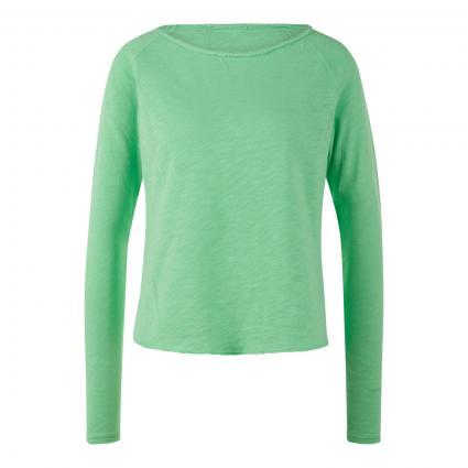 Langarmshirt mit offenen Saumkanten grün (CHRYSALIDE VI)   L