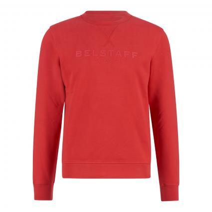 Sweatshirt mit Label-Print rot (05513 dark coral) | L