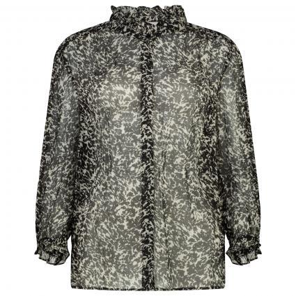 Durchsichtige Bluse mit Rüschendetails schwarz (BLACK NOIR) | 38