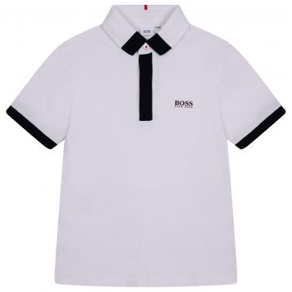 Poloshirt mit seitlichem Logoprint weiss (10B BLANC) | 128
