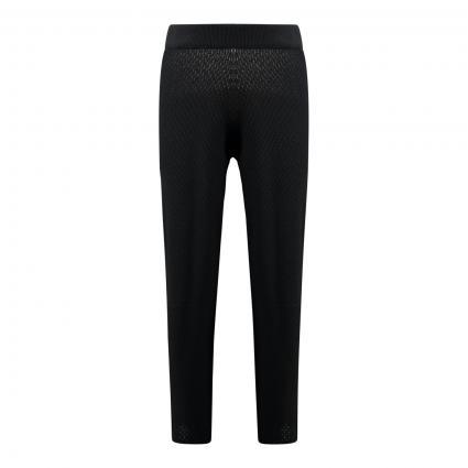 Gestrickte Sweatpant mit weitem Bein schwarz (BLACK) | XS