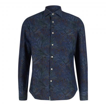Slim-Fit Hemd in Denim-Optik und All-Over Druck blau (FZ2 jeans Druck)   40