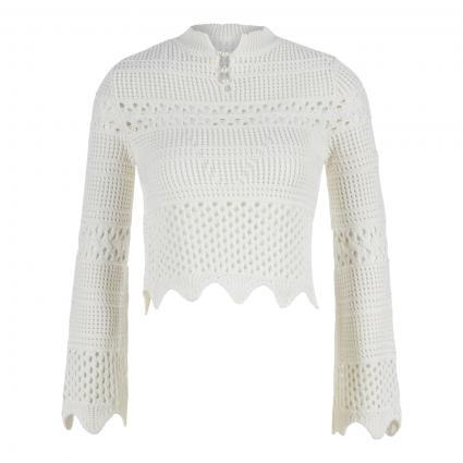 Cropped Pullover 'Annie' mit Lochmuster weiss (TWHT TRUE WHITE A000) | S