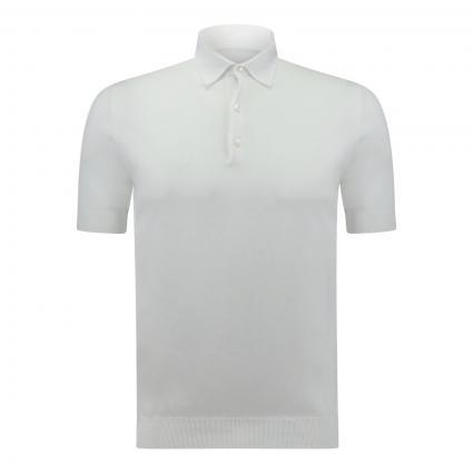 Poloshirt mit breiten Bündchen weiss (001 weiß) | 56