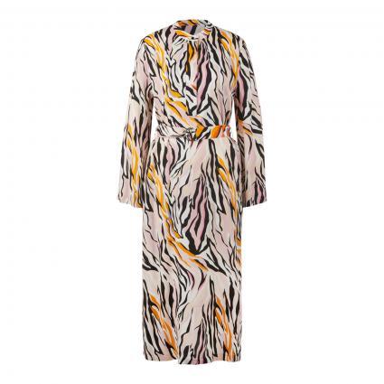 Kleid mit Gürtel und All-Over Druck gelb (211180 yellow mix) | 40