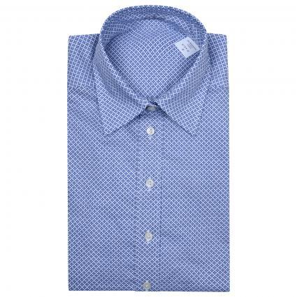 Hemdbluse mit spannendem All-Over Muster  blau (007 blau quadrate) | 38