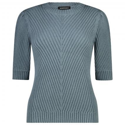 Kurzarm Pullover au reiner Baumwolle  blau (1383 ocean)   36
