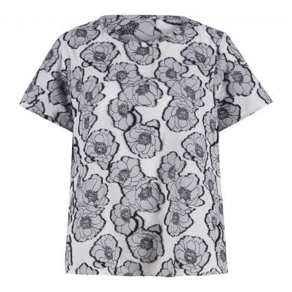 Bluse mit Blumen-Stickereien schwarz (2970/49 schwarz) | 42