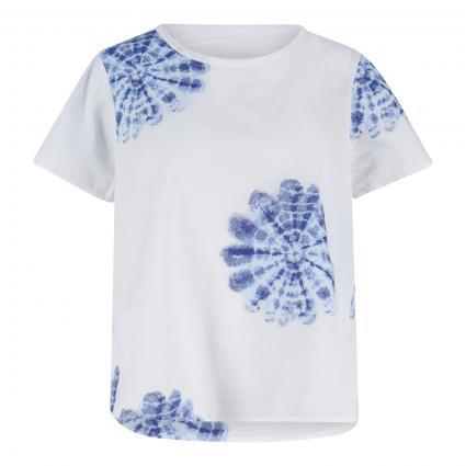 Blusenshirt mit platziertem Batikdruck blau (2978/10 blau) | 38