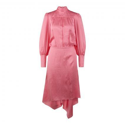 Kleid mit tonalem Logomuster aus Seide pink (BUVARD BUVA) | M