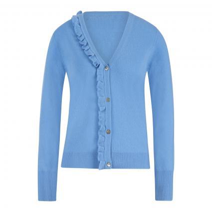 Cashmere-Strickjacke mit Volant blau (himmelblau) | M