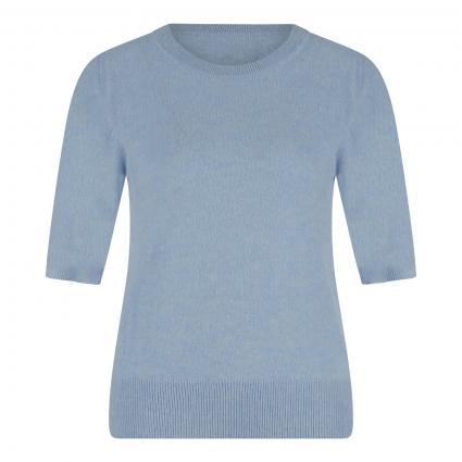 Cashmere-Pullover mit kurzen Ärmeln blau (bleu) | XL