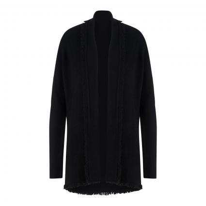 Cashmere-Strickjacke mit Fransen schwarz (schwarz) | M