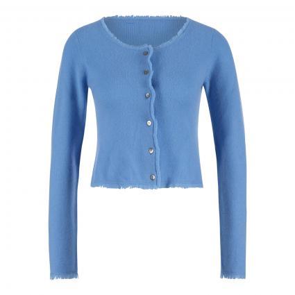 Cashmere-Strickjacke mit Fransen blau (himmelblau) | M