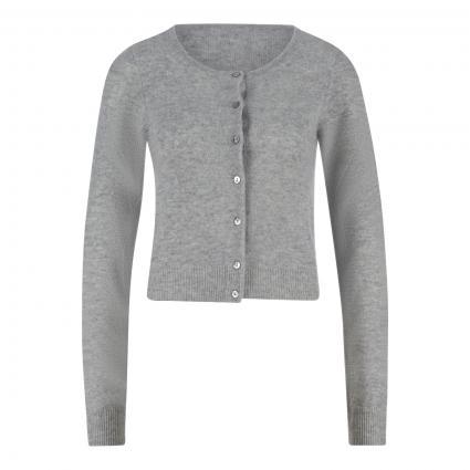Kurze Strickjacke aus Cashmere grau (grau mel.)   S