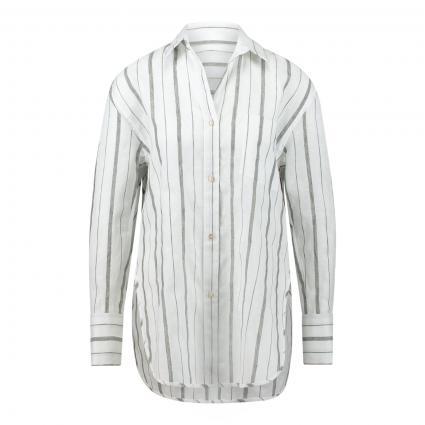 Oversize Hemdbluse mit Streifenmuster weiss (RU1 weiß grau) | 40