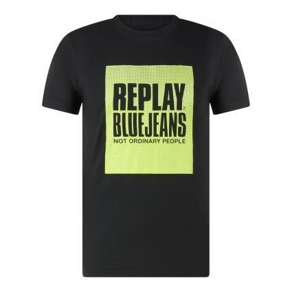 T-Shirt mit Label-Print schwarz (099) | L