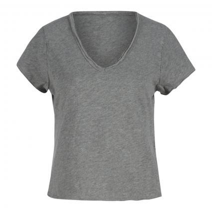 T-Shirt mit V-Ausschnitt  grau (CRIS CHINE) | L