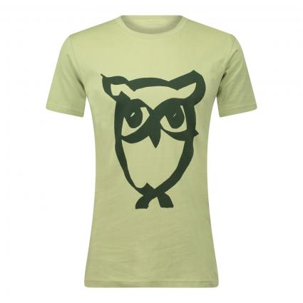 T-Shirt 'Alder' mit tonalem Eulen Druck grün (1246 light dusty green) | XL