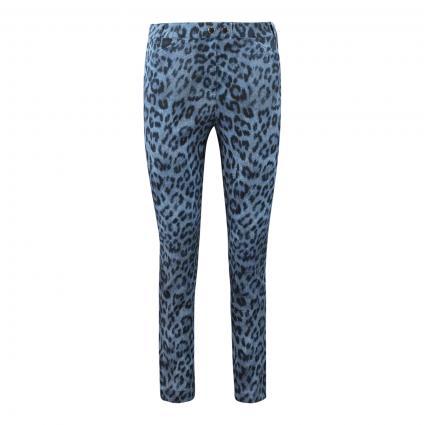 Slim-Fit Hose 'Franziska' mit Animal-Print blau (847 jeansblue) | 34