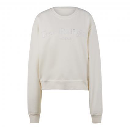 Sweatshirt mit Label-Stickerei weiss (4800 BLANC) | XS