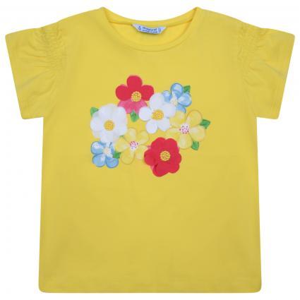 T-Shirt mit Blumen-Print, Stickereien und Rüschen gelb (029 Yellowl) | 104