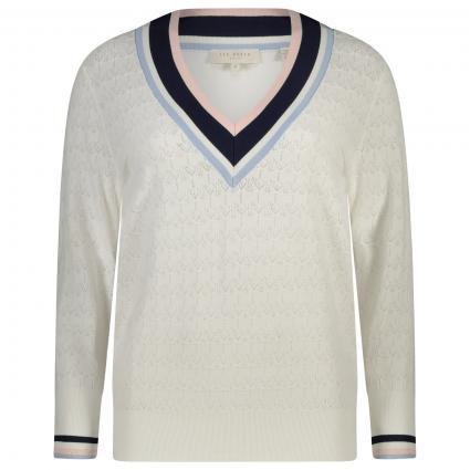 Pullover mit V-Ausschnitt und Musterung  weiss (WHITE) | 34