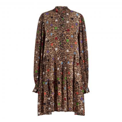 Kleid mit Rüschen-Details und All-Over Druck braun (COMBO1 TACOS Z1TA) | 40