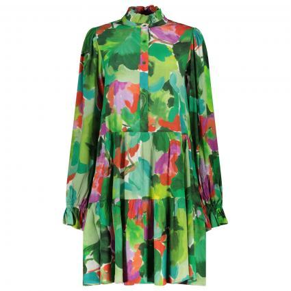 Kleid mit Rüschen-Details und All-Over Druck grün (COMBO2 ALHAMBRA Z2AL) | 34